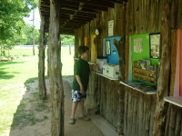 Matthew reading the information board