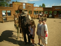 Kids with the cowboy